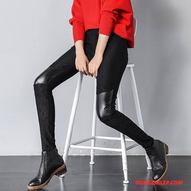 Damskie Legginsy Zima Moda Tendencja Slim Fit Cienkie Swag Czarny Kup