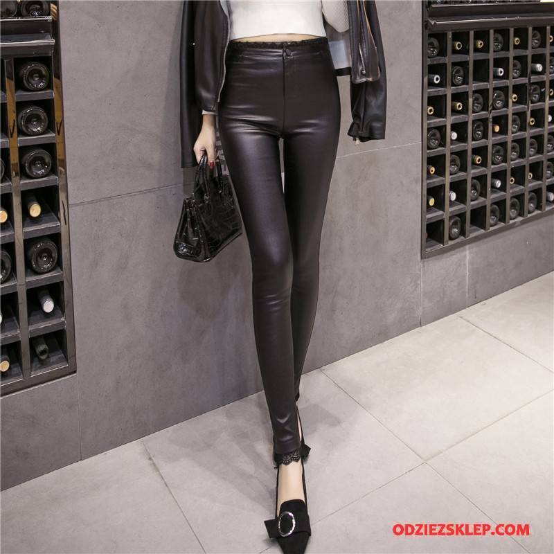 Damskie Legginsy Zima Slim Fit Moda Eleganckie Cienkie Spodnie Czysta Czarny Online