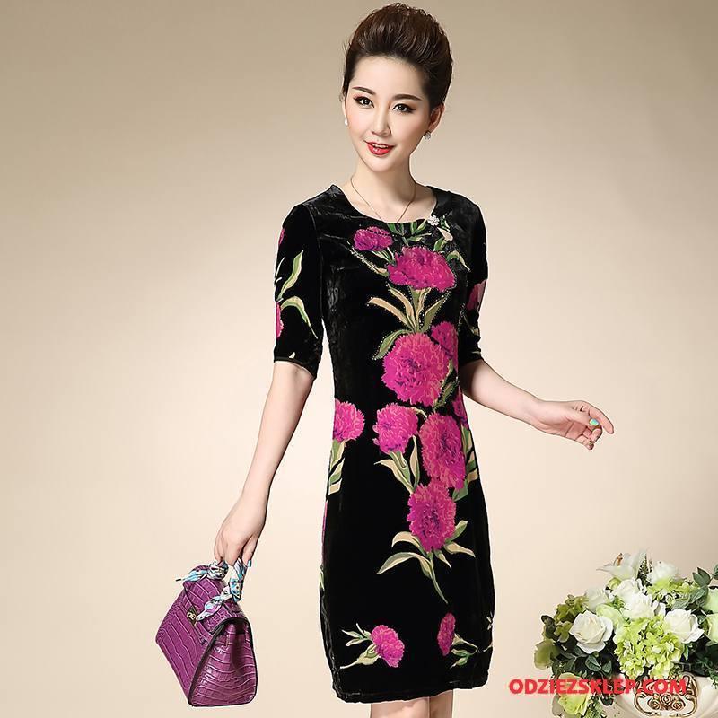 Damskie Odzież Średnim Wieku Drukowana Moda Sukienka Okrągły Dekolt Wiosna Proste Czerwony Online