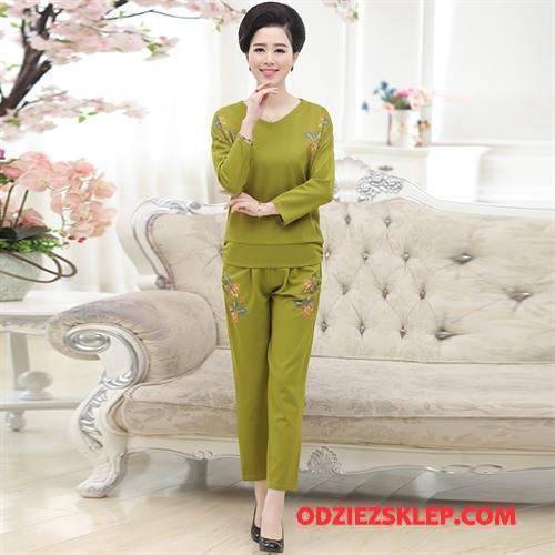 Damskie Odzież Średnim Wieku Jesień Wiosna Ciepłe Pasować Proste Moda Zielony Na Sprzedaż