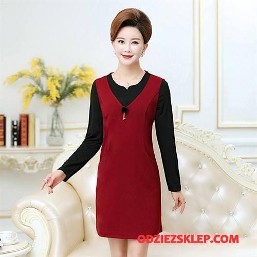 Damskie Odzież Średnim Wieku Slim Fit Damska Eleganckie Sukienka Wygodne Pullover Czysta Czerwony Sklep