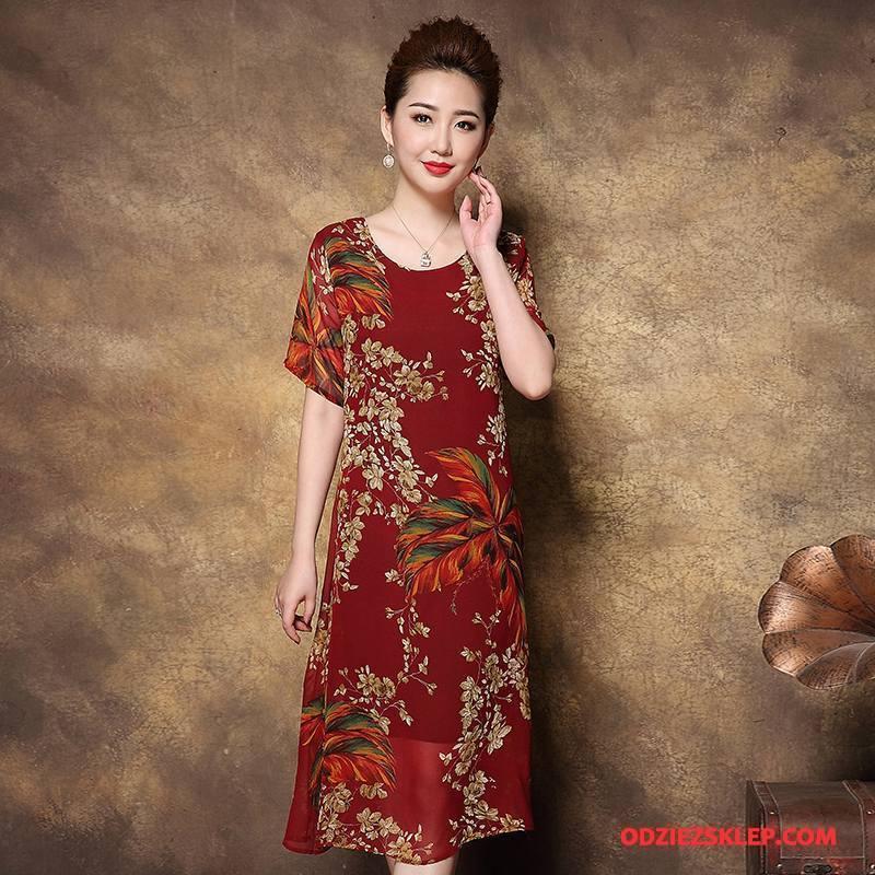 Damskie Odzież Średnim Wieku Szerokie Moda Pullover Cienka 2018 Casual Czerwony Kupię