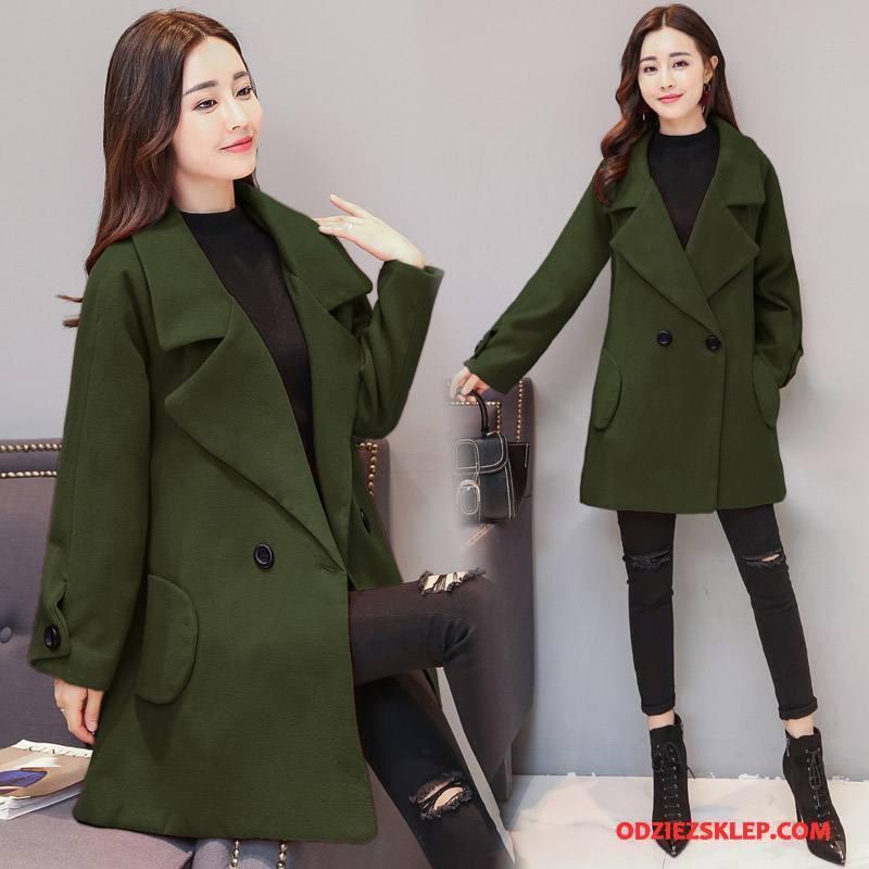 Damskie Odzież Duże Rozmiary 2018 Płaszcz Jesień Długi Rękaw Moda Z Wełny Czysta Zielony Na Sprzedaż