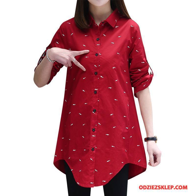 Damskie Odzież Duże Rozmiary Bawełniane Długie Cienkie Eleganckie Proste Wiosna Czerwony Tanie