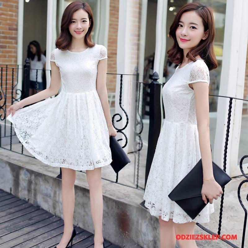 Damskie Odzież Duże Rozmiary Lato Długie Koronkowe Krótki Rękaw Eleganckie Duży Rozmiar Czysta Biały Sprzedam