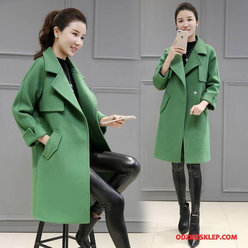 Damskie Płaszcze Długi Rękaw Slim Fit Tendencja Z Wełny Zima Moda Czysta Zielony Kup