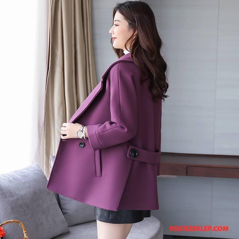 Damskie Płaszcze Długi Rękaw Swag Eleganckie Tendencja Moda 2018 Czysta Fioletowy Na Sprzedaż