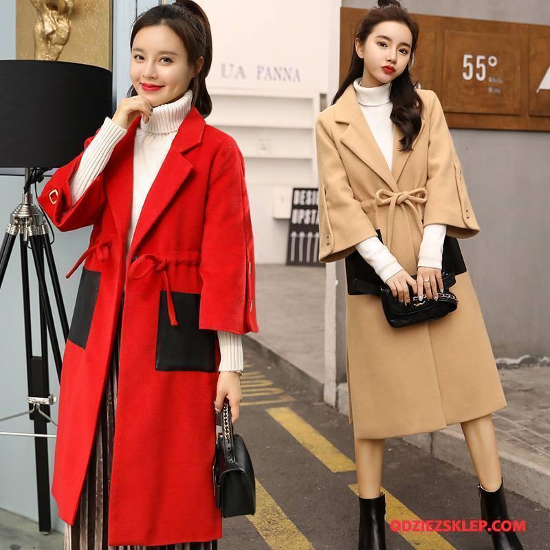 Damskie Płaszcze Długie Proste Slim Fit Rękawy Garnitury Moda Czysta Czerwony Kup