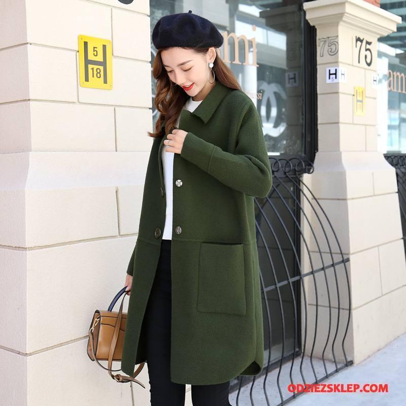Damskie Płaszcze Długie Slim Fit 2018 Moda Kieszenie Jednorzędowy Czysta Zielony Tanie