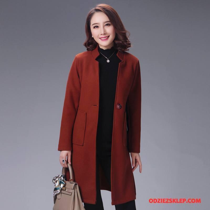 Damskie Płaszcze Długie Witalność Z Wełny Eleganckie Moda Cienkie Karmel Czysta Sprzedam