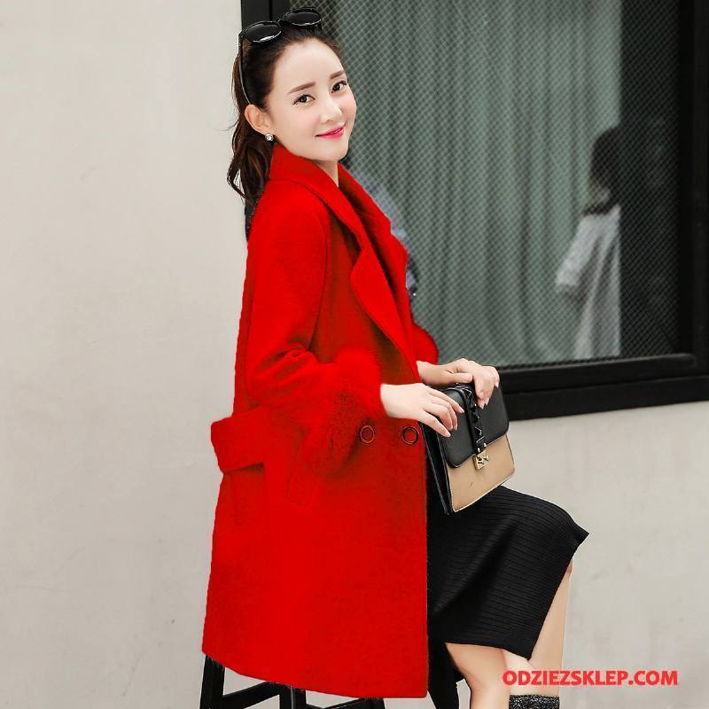 Damskie Płaszcze Eleganckie Długie Poliester Zima Z Wełny Moda Czysta Czerwony Sprzedam