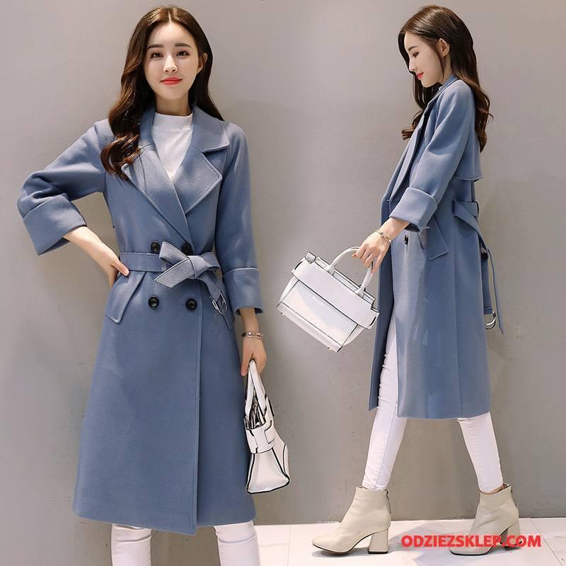 Damskie Płaszcze Eleganckie Zima Moda Popularny Tendencja Proste Niebieski Sklep