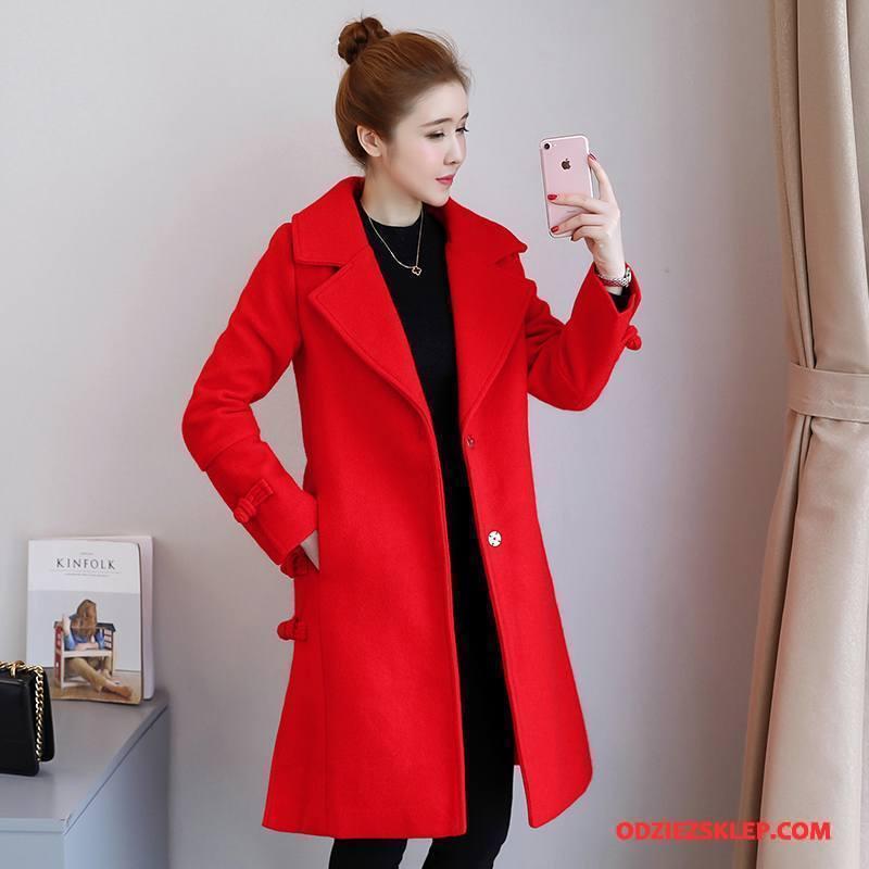 Damskie Płaszcze Jednorzędowy Duże Słodkie Casual Garnitury Moda Czysta Czerwony Sprzedam
