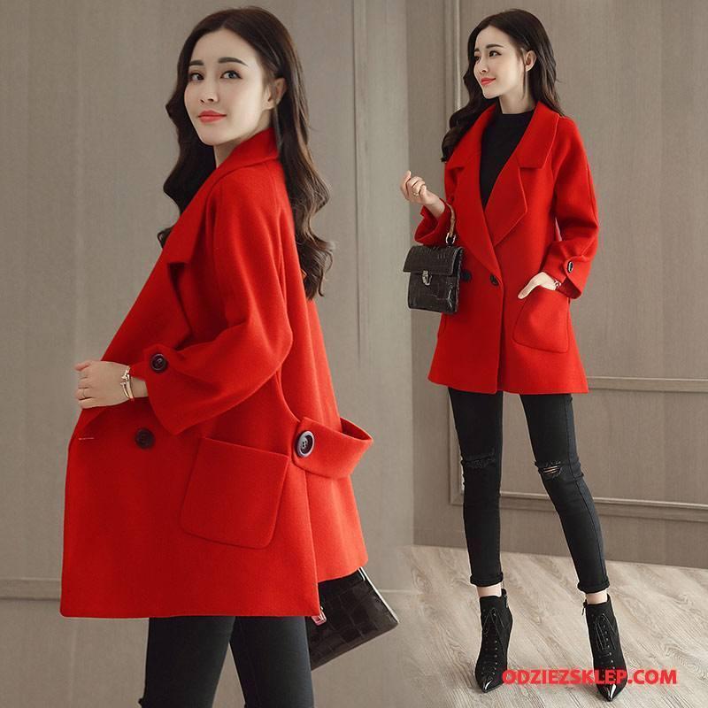 Damskie Płaszcze Moda Długie Długi Rękaw Slim Fit Zima Z Wełny Czysta Czerwony Tanie