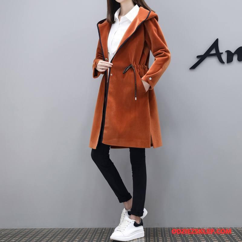 Damskie Płaszcze Moda Proste Eleganckie Długi Rękaw Zima Z Wełny Karmel Czysta Sprzedam