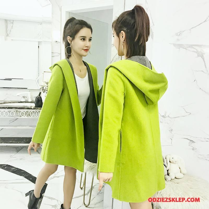 Damskie Płaszcze Slim Fit Cienkie Wiosna Z Wełny Moda Długi Rękaw Zielony Oferta