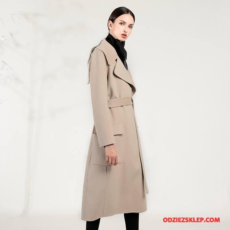Damskie Płaszcze Zima Garnitury Moda Tendencja Sznurowane Długie Czysta Beżowy Sklep