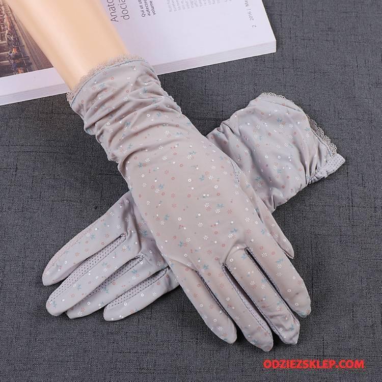 Damskie Rękawiczki Cienkie Dla Kierowców Antypoślizgowe Pięć Palców Oddychające Ochrona Przed Słońcem Fioletowy Szary Tanie