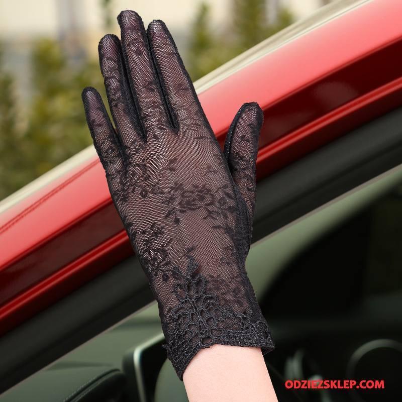 Damskie Rękawiczki Ekran Dotykowy Jedwab Ochrona Przed Słońcem Outdoor Damska Cienkie Fioletowy Czarny Tanie