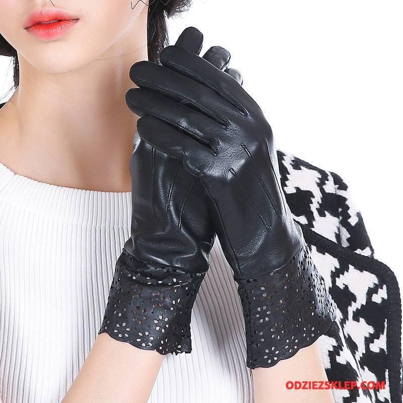 Damskie Rękawiczki Moda Prawdziwa Skóra Cienkie Jesień Wiosna Dla Kierowców Czarny Na Sprzedaż