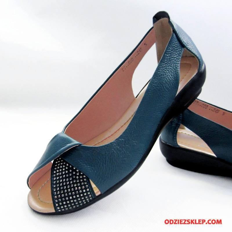Damskie Sandały Buty Prawdziwa Skóra Otwarte Duży Rozmiar Damska Płaskie Niebieski Tanie