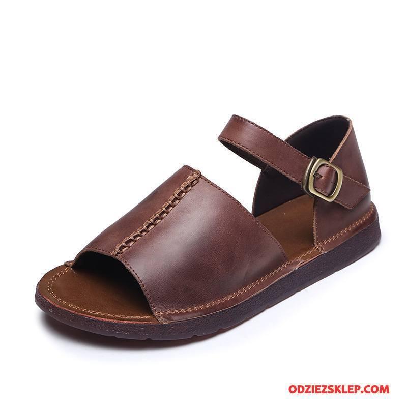Damskie Sandały Vintage Wygodne Retro Rzym Damska Lato Brązowy Kupię