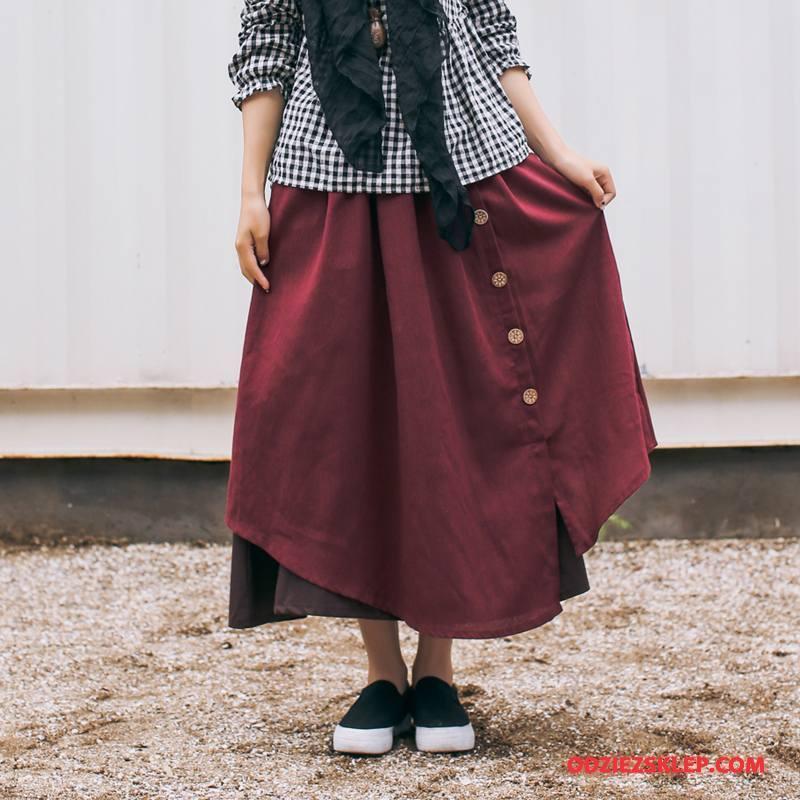 Damskie Spódnica Eleganckie 2018 Cienkie Jesień Długie Moda Purpurowy Czysta Sprzedam