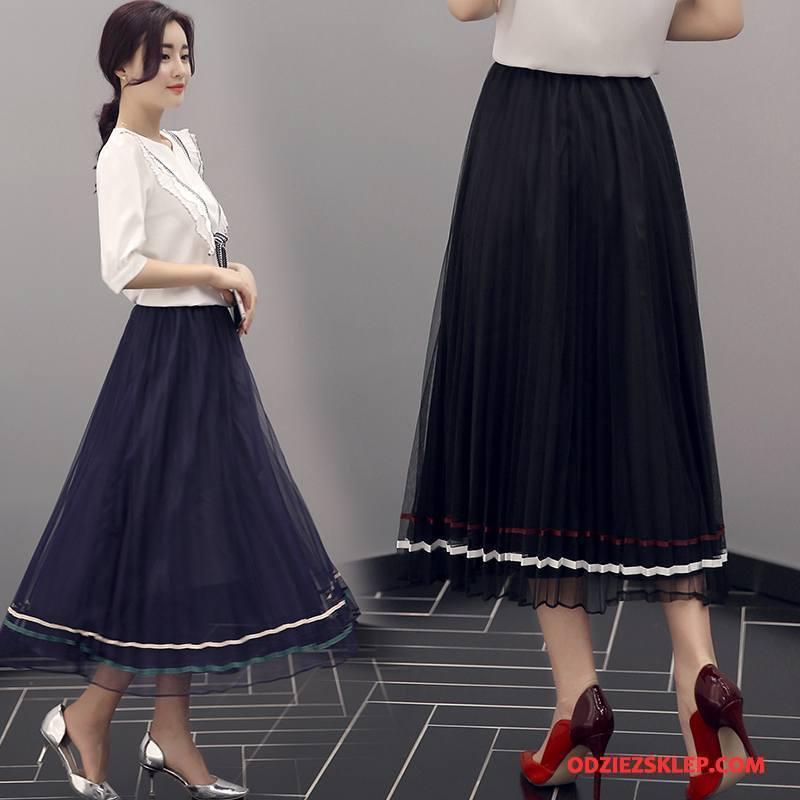Damskie Spódnica Eleganckie Wiosna Moda Proste Długie Środkowa Stan Czarny Sklep