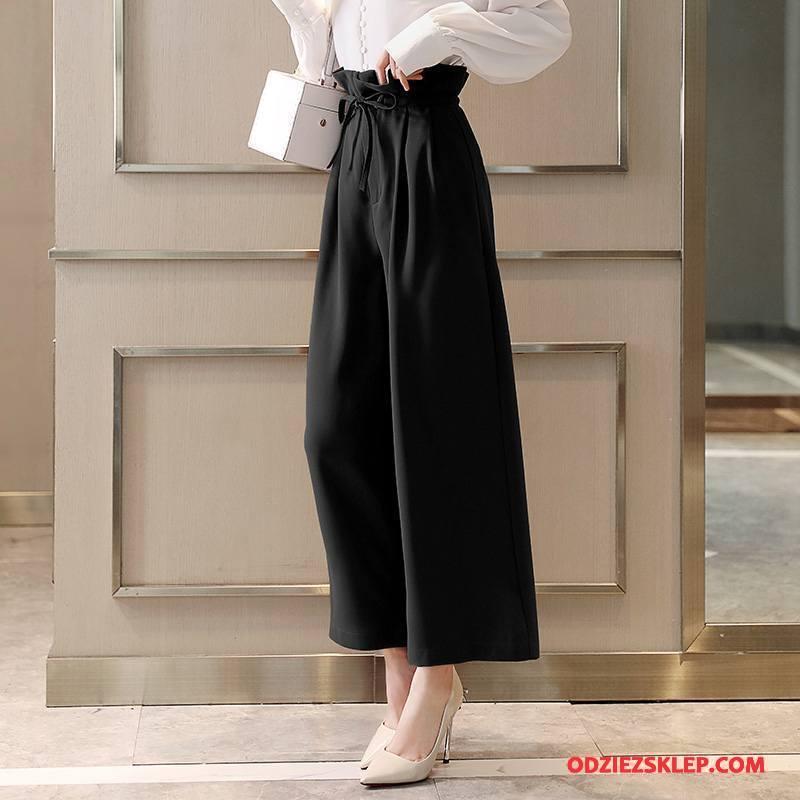 Damskie Spodnie 2018 Popularny Wiosna Eleganckie Wysoki Stan Tendencja Czysta Czarny Na Sprzedaż