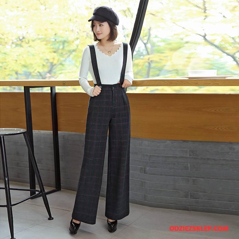 Damskie Spodnie Długie Tendencja Moda Wiosna 2018 Eleganckie Czysta Czarny Sprzedam
