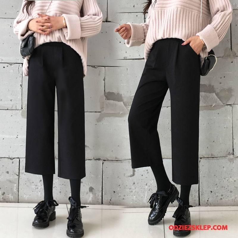 Damskie Spodnie Dla Grubych Tendencja Zima 2018 Moda Cienkie Czysta Czarny Tanie