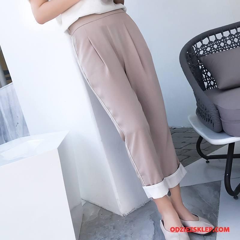 Damskie Spodnie Eleganckie Slim Fit Proste Środkowa Stan Harlan 2018 Beżowy Sklep