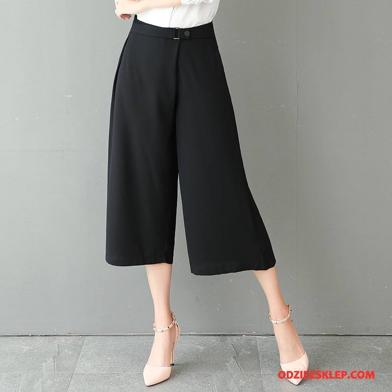Damskie Spodnie Moda Cienkie Wysoki Stan Bawełniane Mieszać Slim Fit Czarny Kup