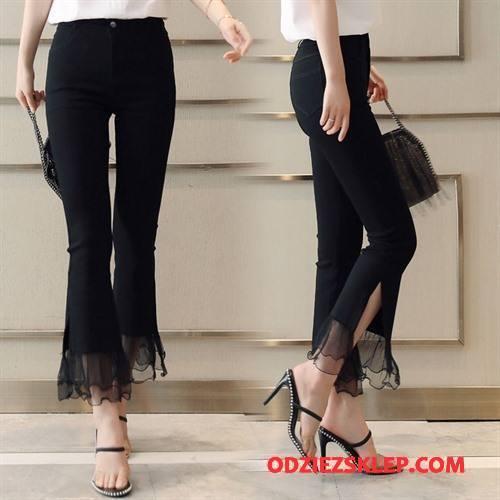 Damskie Spodnie Moda Slim Fit Osobowość Szycie Koronkowe Mieszać Czarny Tanie