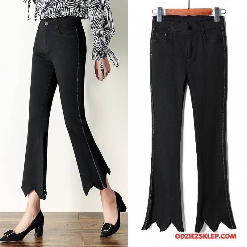 Damskie Spodnie Nieregularne Dla Grubych Ołówkowe Spodnie Casual Eleganckie Czyste Czysta Czarny Na Sprzedaż