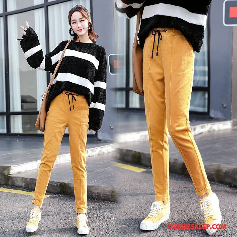 Damskie Spodnie Slim Fit Moda 2018 Proste Kieszenie Cienkie Żółty Sprzedam
