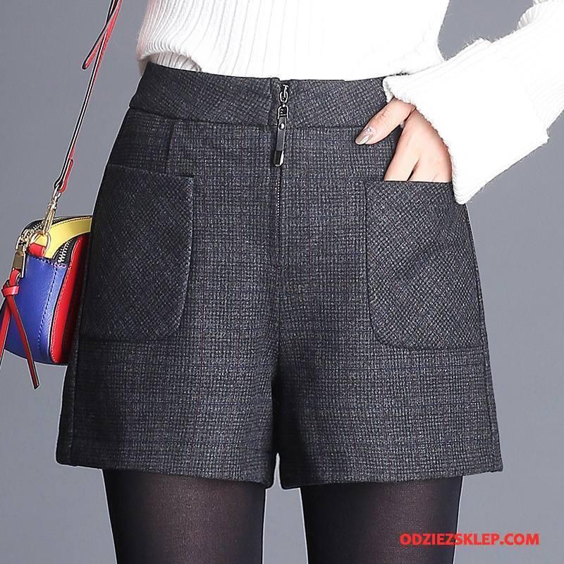 Damskie Spodnie Zima Dla Grubych Brytyjskie Moda Szorty Cienkie Czarny Tanie