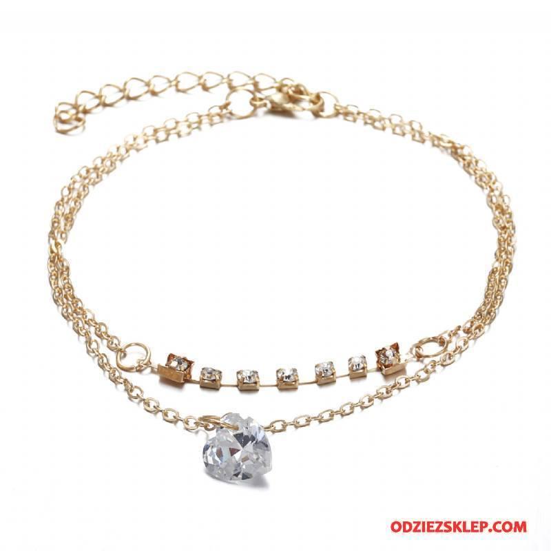 Damskie Srebrna Biżuteria W Kształcie Serca Podwójna Kryształ Damska Moda Szyk Złoty Dyskont