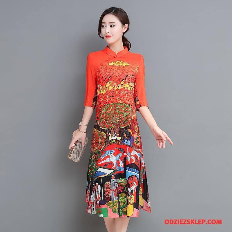 Damskie Sukienka 2018 Casual Wiosna Rękawy Tendencja Długi Rękaw Oranż Czerwony Sklep