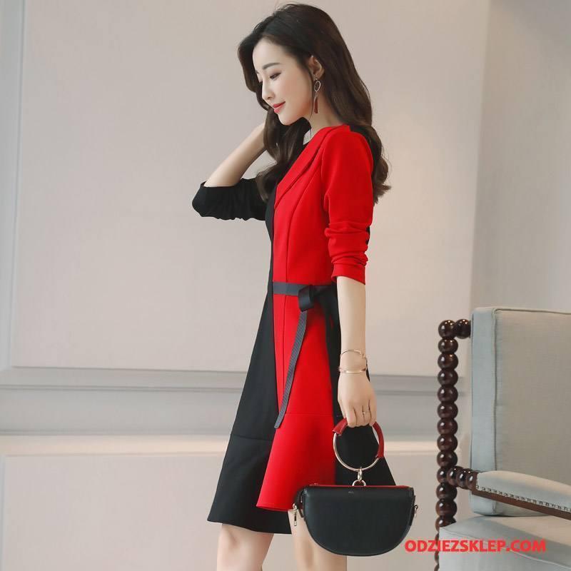 Damskie Sukienka Długi Rękaw Jesień Długie Eleganckie Zamek Moda Czysta Czarny Czerwony Sklep