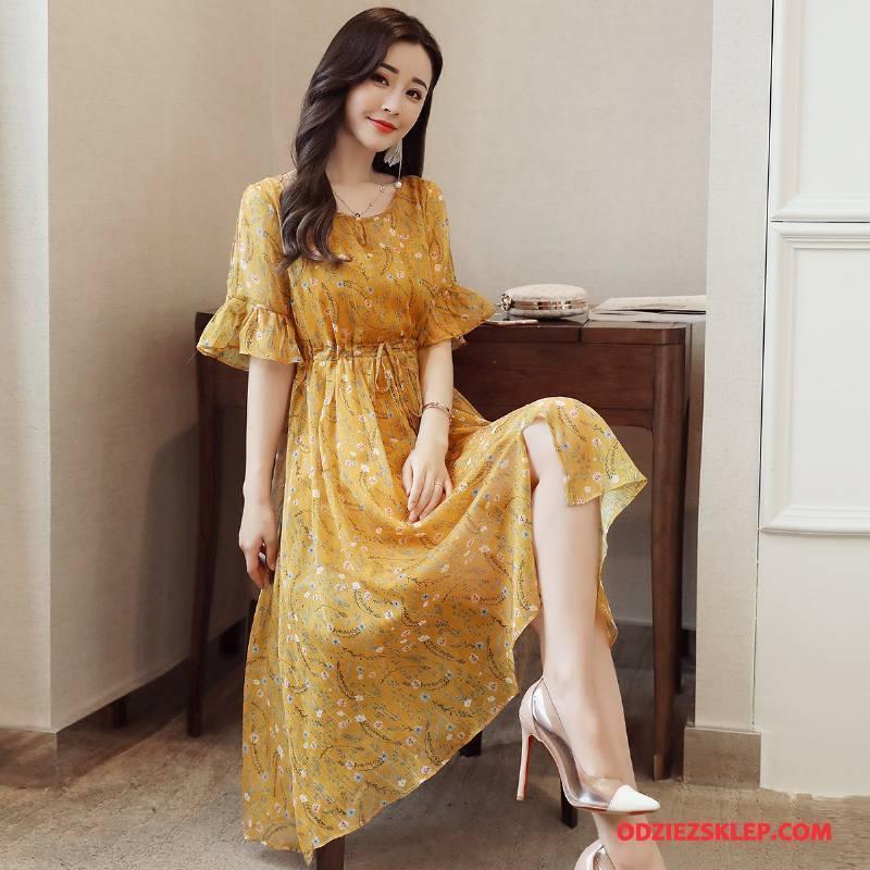 Damskie Sukienka Długie Moda Pullover Swag 2018 Krótki Rękaw Żółty Kupię