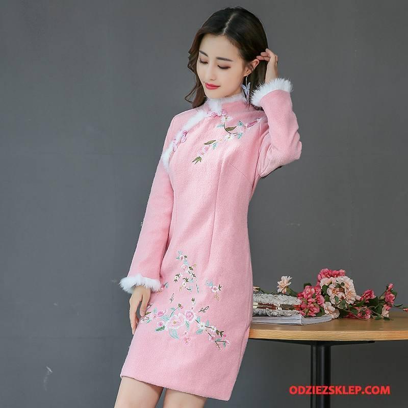 Damskie Sukienka Długie Tendencja Jesień Proste Moda Casual Różowy Sklep