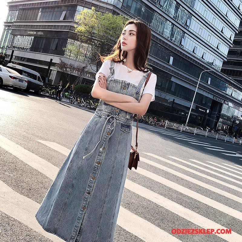 Damskie Sukienka Dżinsowa Długi Rękaw 2018 Moda Lato Denim Eleganckie Niebieski Sprzedam
