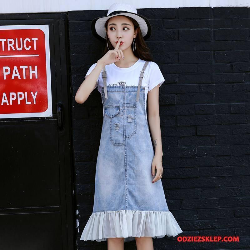 Damskie Sukienka Dżinsowa Gazy 2018 Bez Rękawów Vintage Denim Wiosna Niebieski Na Sprzedaż