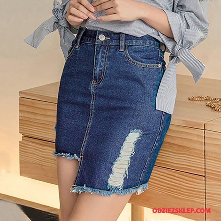 Damskie Sukienka Dżinsowa Kieszenie Nieregularne Osobowość Wiosna Moda Denim Niebieski Sprzedam