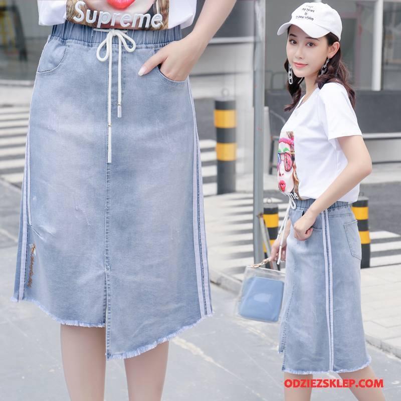 Damskie Sukienka Dżinsowa Krótki Rękaw Lato Moda 2018 Drukowana Eleganckie Niebieski Sprzedam