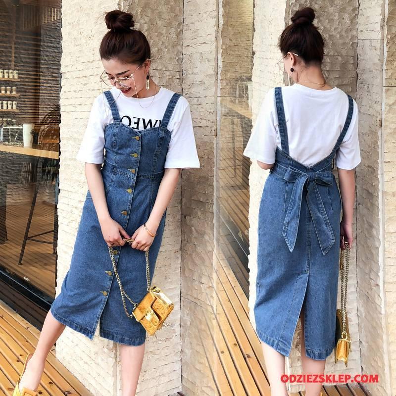 Damskie Sukienka Dżinsowa Lato 2018 Denim Bez Rękawów Jednorzędowy Długie Niebieski Na Sprzedaż