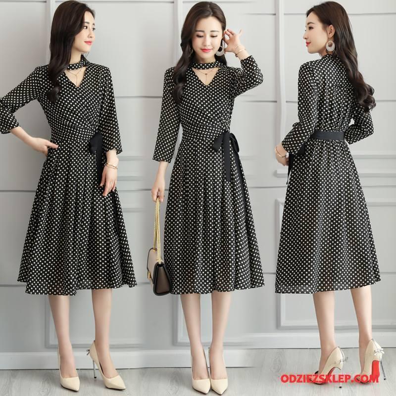 Damskie Sukienka Dżinsowa Moda Długie 2018 Casual Eleganckie Tendencja Czarny Tanie