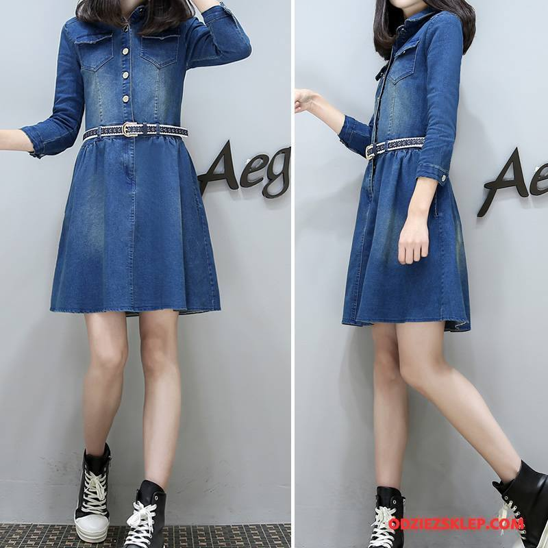 Damskie Sukienka Dżinsowa Swag Sznurowane Długie Guziki Rękawy Denim Czysta Niebieski Sprzedam