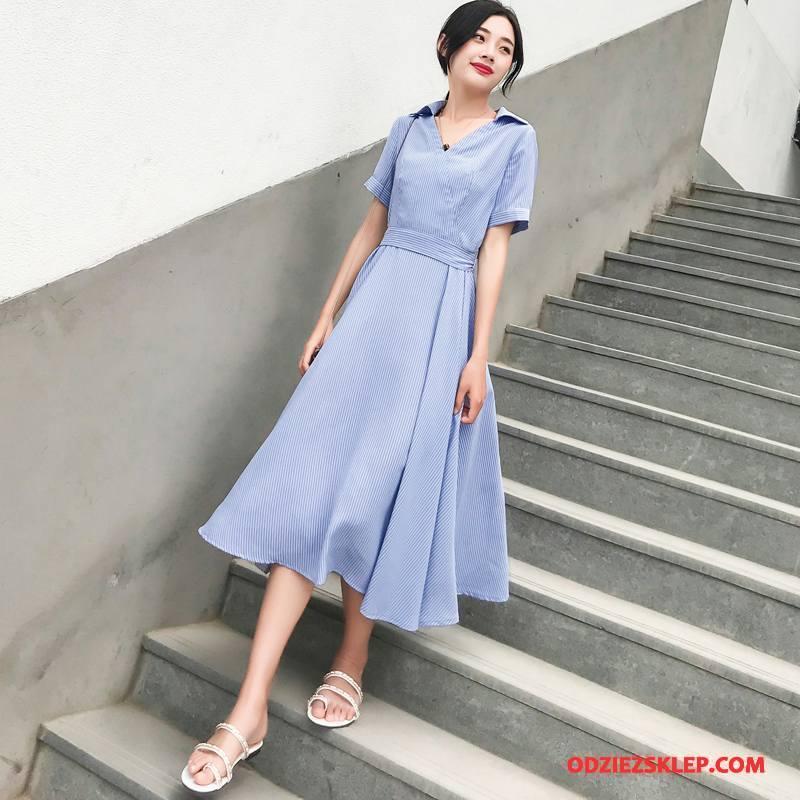 Damskie Sukienka Eleganckie 2018 Lato Tendencja Wygodne Osobowość Jasny Niebieski Sprzedam